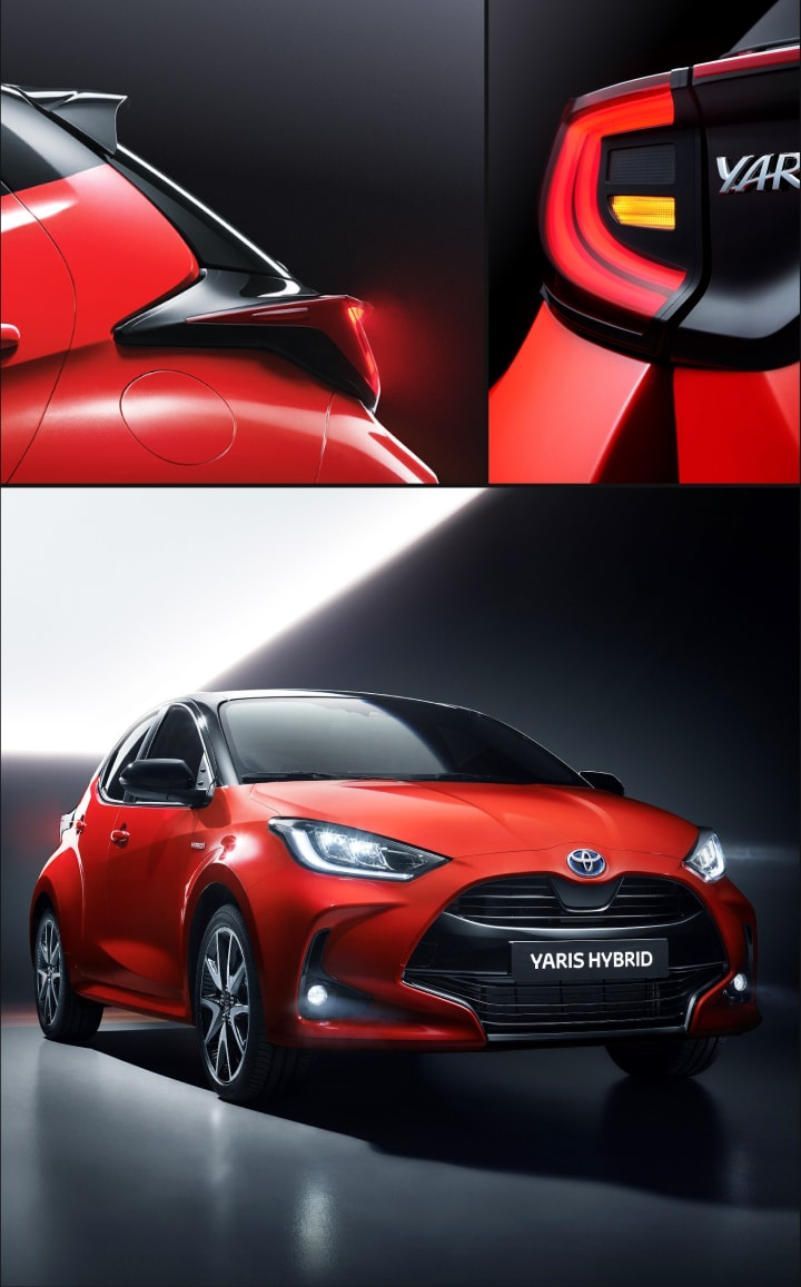 Yaris 2020 Hybrid hatchback exterior in a dark environment. Details of rear & reversing lights.