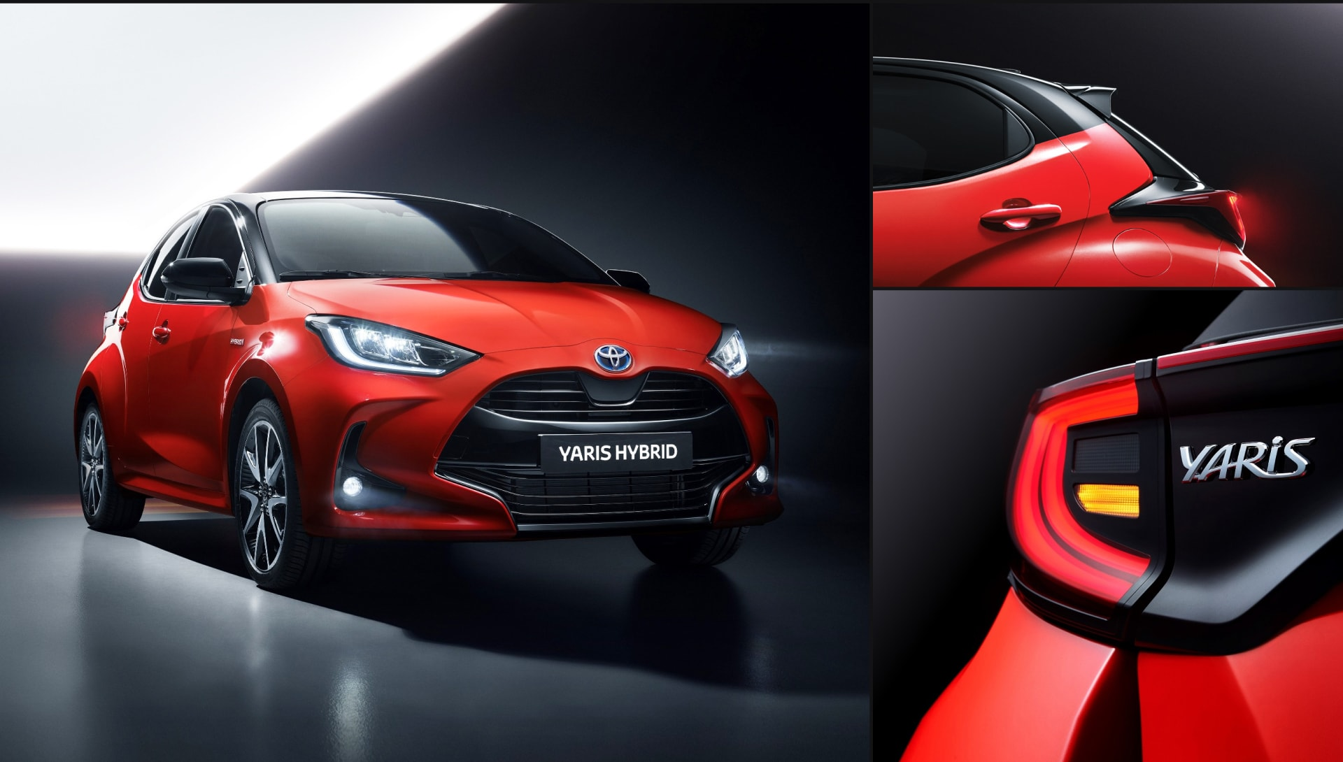 Yaris 2020 Hybrid hatchback exterior in a dark environment. Details of rear & reversing lights.
